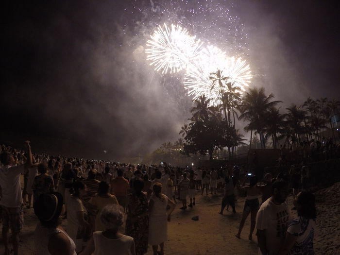 Arts Culture And Entertainment Blurred Motion Celebration Crowd Enjoyment Event Exploding Firework Firework - Man Made Object Firework Display Gopro Illuminated Large Group Of People Leisure Activity Men Motion Night Outdoors People Real People Sky Women