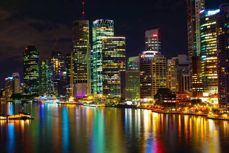 Brisbane storybridge Cityscapes City Life City Lights Illuminated Building Exterior Night Water Skyscraper City Architecture Waterfront Built Structure Reflection Tall - High Cityscape Building Story Sky Urban Skyline Multi Colored Tower Modern Sea Tall First Eyeem Photo