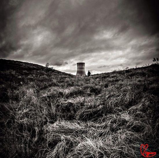 Blackandwhite Photo Nuclear Power Plant