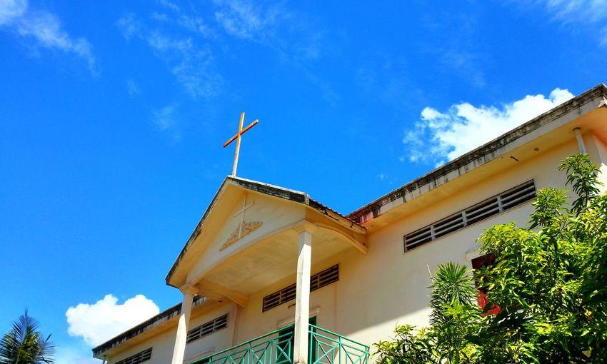 캄보디아 Treval 구름 필터 하늘 풍경 교회 Blue Blue Sky 건물 Chruch Cambodia 여행 EyeEm Selects Tree Sky Cloud - Sky