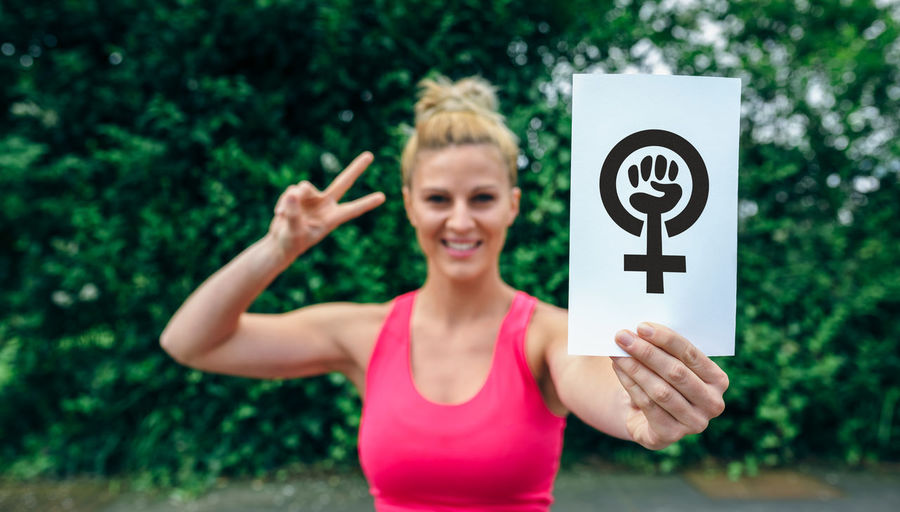 Feminine  Fight Freedom Horizontal Poster Power Protest Rights SUPPORT Sign Cause Defense Empowerment  Female Feminism Feminist Fist Girl Movement One Person Self Confident Showing Strength Symbol Women