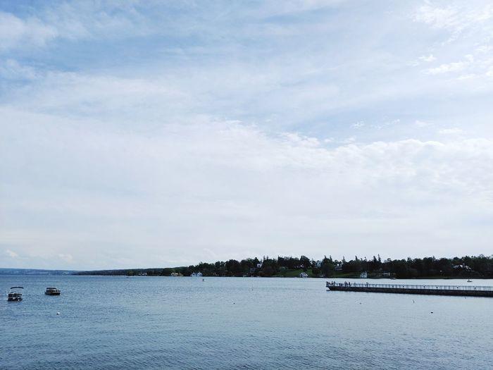 lake day Upstate New York Tree Sea Beach Blue Sky Boat Pier Coastal Feature Dock Horizon Over Water