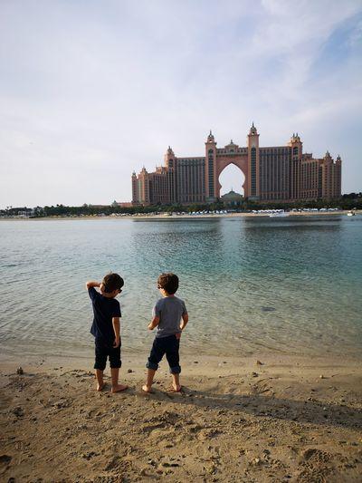 City Water Sea Beach Togetherness Sand Full Length Child Urban Skyline Sky