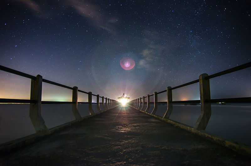 Bintan  Kepulauan Riau Astronomy Beauty In Nature Bintan Island Bridge - Man Made Structure Galaxy Horizon Over Water Illuminated Infinity Kepri Long Exposure Nature Night Nyiksakamera Railing River Scenics Sebong Pereh Sky Star - Space Water
