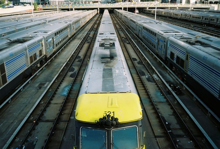 High angle view of train at railroad station