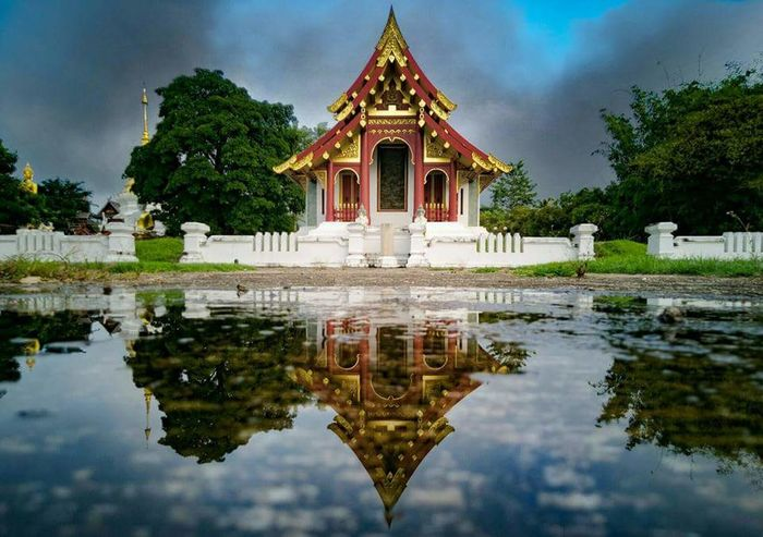 temple Temple Reflection Architecture Religion Beauty Cloud - Sky Tree Travel