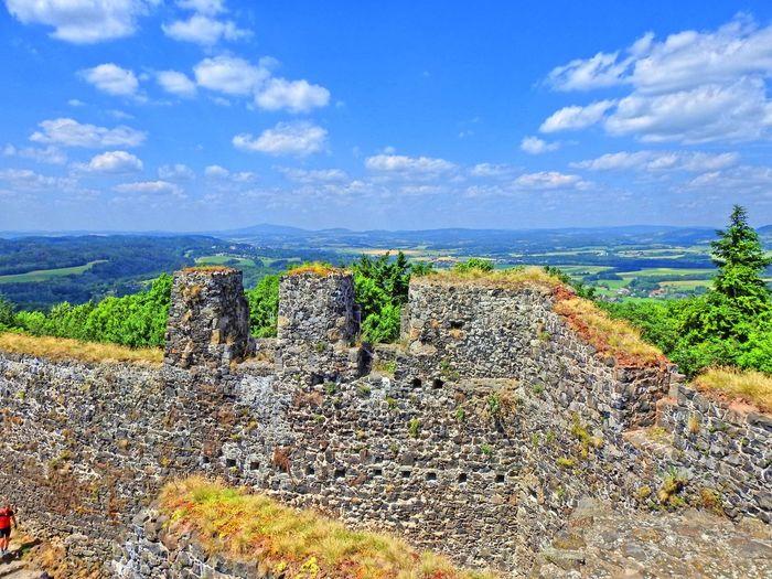 Stone wall against sky