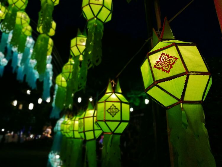 Illuminated Lighting Equipment Hanging Green Color Night No People Outdoors Close-up Chinese Lantern Festival Northofthailand Norththailand Thai Style Thaiculture