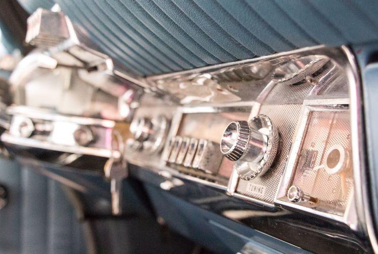 Close-up of car radio