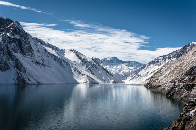 Scenic view of lake and snowcapped mountains against sky during winter