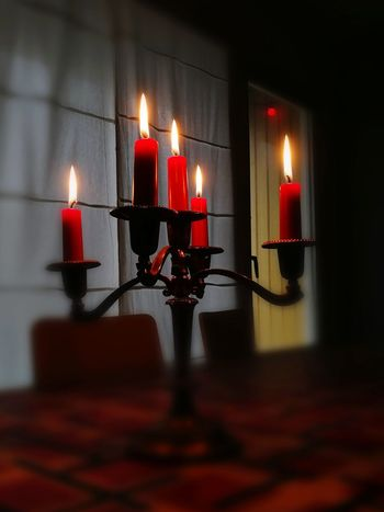 Huawei Huaweiphotography Huawei Photography Red Candelabra Candels Huawei Honor 9 HuaweiHonor Candle Flame Burning Red Illuminated Heat - Temperature Lighting Equipment Reflection No People Indoors  Close-up Altar Day Celebration Ceremony Religion Diya - Oil Lamp