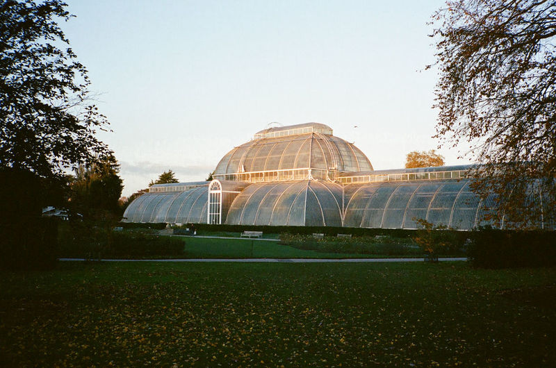 View of gazebo in park against clear sky