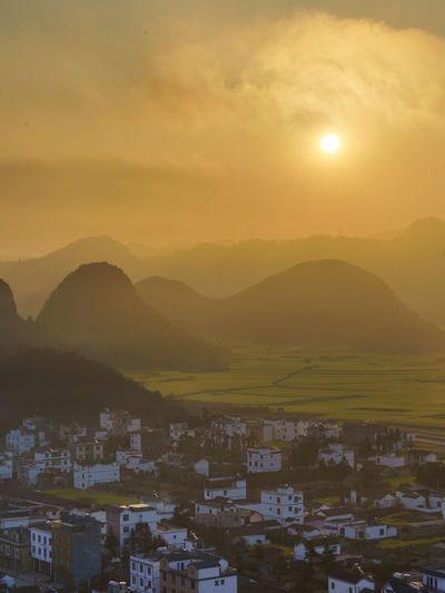 Sunrise at Lingyi Temple Viewpoint in Louping, South of China. Beautiful Field Golden Beauty In Nature China Colorful Flowers Landscape Lignyi Louping Mountain Sky Sunrise Sunset Viewpoint