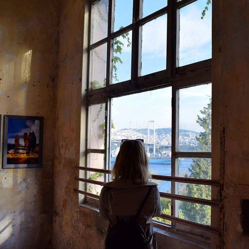 Istanbul Turkey Nikon Goodnight Girl Model Window Rear View Indoors  Looking Through Window One Person Women Adult Day Real People Architecture One Woman Only People Only Women Blond Hair Lifestyles Sky Young Adult Adults Only
