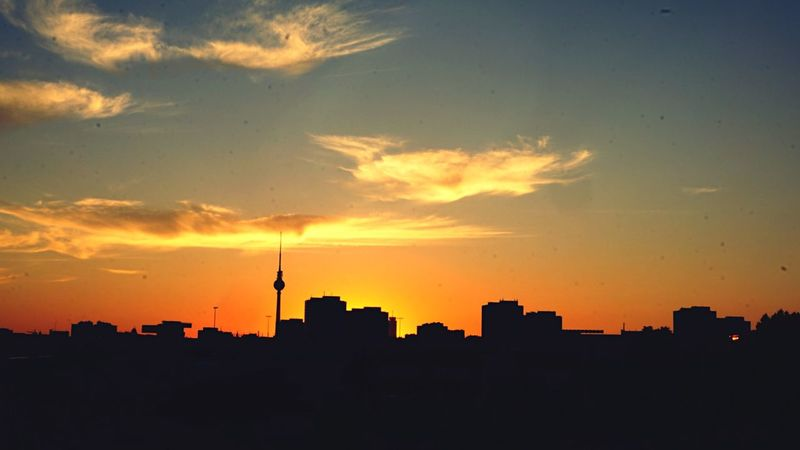 Last Night in Berlin Open Edit Berlin Photography East German Architecture Sunset Silhouettes My Fuckin Berlin Getting Inspired We Are Photography, We Are EyeEm Clouds And Sky Real Berlin Buildings