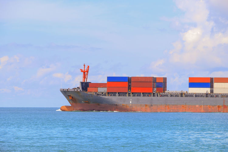 View of ship in sea against sky