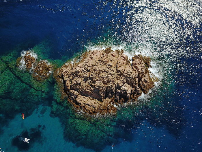 Blue Sea Catalunya Looking Down Rock In The Water Aerial Photography Aerial View Beauty In Nature Blue Blue Depth Clear Water Day Island Nature No People Outdoors Rock - Object Rock In Sea Rocky Mountains Scenics Sea Tiny People Travel Destinations UnderSea Underwater Water