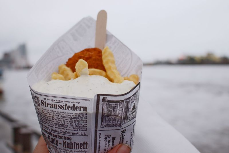 Fish and chips - Hamburg XVI Focus On Foreground Food And Drink Food Close-up No People Ready-to-eat Disposable Day Outdoors Fish And Chips Hamburg Hamburg Harbour Hamburger Hafen Fish French Fries Remoulade Old Newspaper