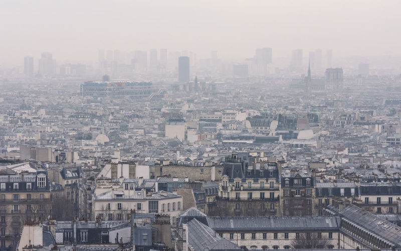 Aerial View Before Sunset City City Photography City View  Cityscape Day Distant View EyeEm Best Shots EyeEm City Shots Fog France🇫🇷 Montmartre No People Outdoors Paris Paris From Above Paris ❤ Paris, France  Sky Travelling Travelscape Urban Skyline View From Above