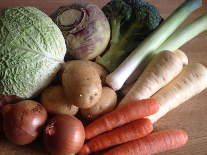 High Angle View Of Vegetables On Table At Home