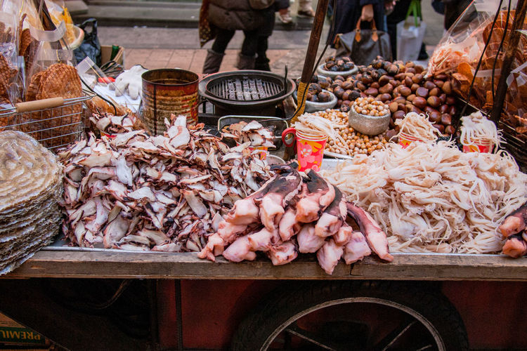 Close-up of squid for sale at market