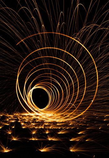 Abstract image of illuminated lights at night