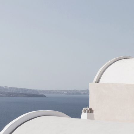 Sea Copy Space Water No People Coin-operated Binoculars Scenics Day Clear Sky Nature Outdoors Tranquility Beauty In Nature Horizon Over Water Built Structure Sky Whitewashed Mountain Building Exterior Close-up Architecture Santorini Modern The Week On EyeEm Santorini, Greece EyeEmNewHere