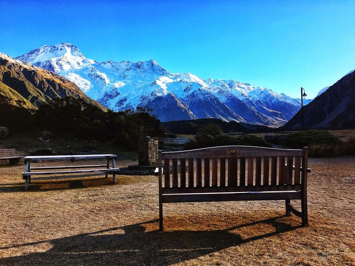 Mt Cook Mt Cook New Zealand Mountain Bench Snowcapped Mountain Snow Blue Sky Scenics Tranquil Scene Beauty In Nature Nature Tranquility Day Landscape Idyllic Cold Temperature Nature IPhoneography Clear Sky Mountain Peak EyeEmNewHere