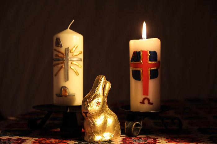 Candle Easter Bunny Burning Candle Candlelight Celebration Decoration Easter Candle Eastern Fire Flame Illuminated Religion Spirituality