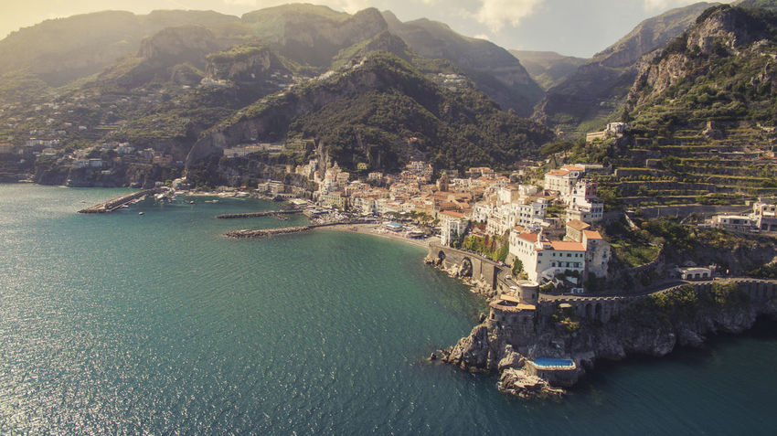 Amalfi Coast Drone  Amalfi Italy Architecture Drone Photography High Angle View Italy Mountain Mountain Range Outdoors Residential District Scenics - Nature Sea TOWNSCAPE Travel Destinations Water Waterfront