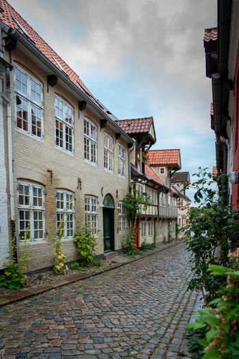 Oluf-Samsons-Gang City Old Town Architecture Building Building Exterior Built Structure City Cloud - Sky Cobblestone Day Direction Footpath House Nature No People Old Old Buildings Outdoors Plant Residential District Row House Sky Street The Way Forward Town