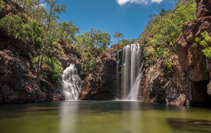 Waterfall against sky