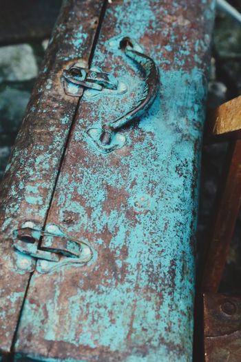 Turquoise painted vintage suitcase Closed Full Frame Old Transportation Travelerslife Traveler Abandoned Rustic Style Rustic Vintage Overhead Topview Top Perspective Still Life Handle Baggage Claim Baggage Luggage Paint Bag Travel Luggage Suitecase Close-up Rusty Metal No People Day Abandoned Outdoors