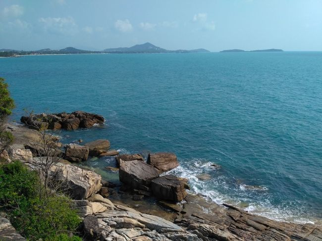 Ko Samui, Thailand Water Sea Beauty In Nature Land Beach Sky Nature Rock Rock - Object Horizon Over Water Landscape Travel Destinations Archipelago Sand Beach Sand & Sea Tourism Island Beauty In Nature No People Solid Travel Sea View Vacations Tropical Climate Tranquil Scene