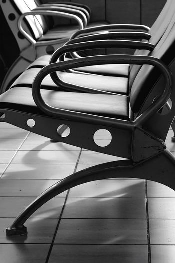 Waiting Room Chairs Indoors  No People Seat Close-up Still Life Flooring Metal Absence Chair Day Pattern Group Of Objects Focus On Foreground