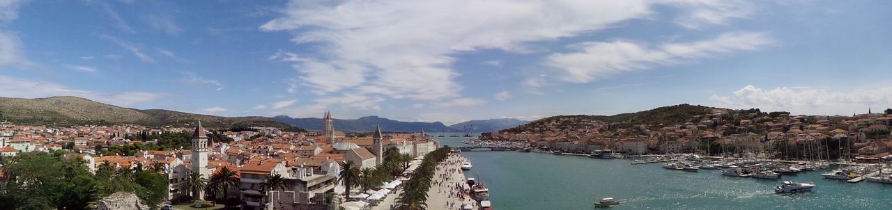 Aerial View Architecture Blue Building Exterior Built Structure City Cloud - Sky Croatia Dalmatia Day Harbor High Angle View Outdoors Panoramic Panoramic Photography Scenics Sea Sea And Sky My Year My View Tourism Town Travel Destinations Trogir Water Waterfront Neighborhood Map