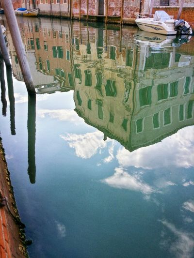 Venice Veneto Italy Travel Travel Photography Traveling Dream Destinations Mobile Photography Backlight Water Canals Architecture Historical Buildings Motorboats Boat Poles Reflections And Shadows Sky Clouds Waterfront Outdoors Water Surface Atmosphere Early Morning Walks The Earlier The Better