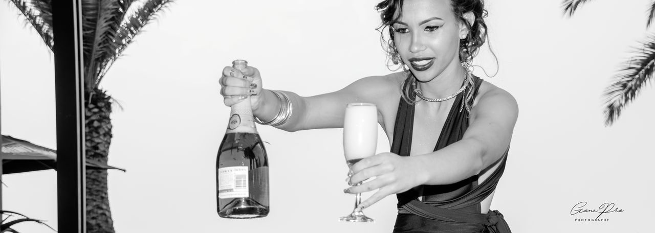 One Woman Only Smiling Champagne Lover