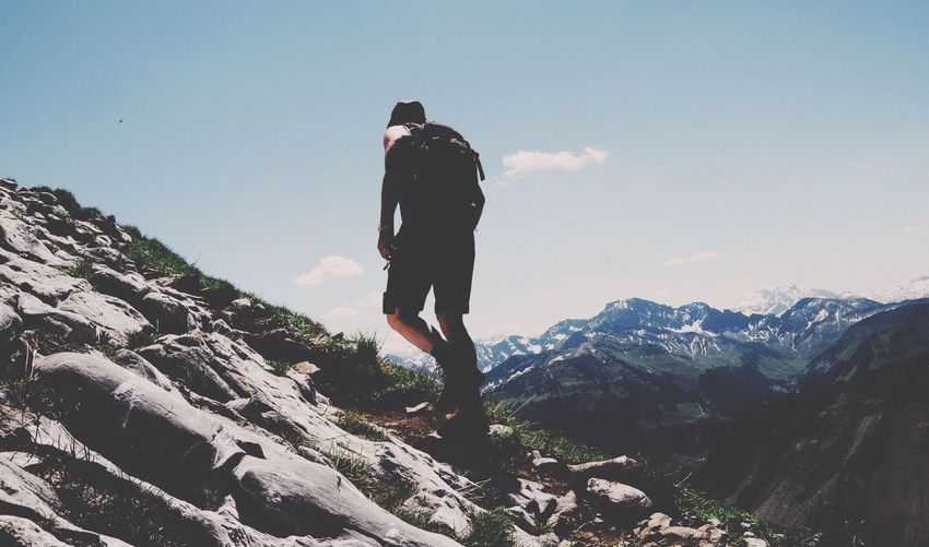 Man hiking on mountain