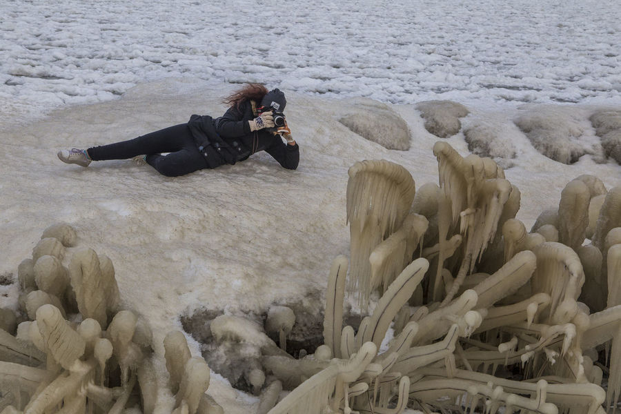 Camera - Photographic Equipment Girl On Ice Girl With Camera Human Photography Ice Landscape Laying Down Photographer Photographic Equipment Photographing Photography Themes