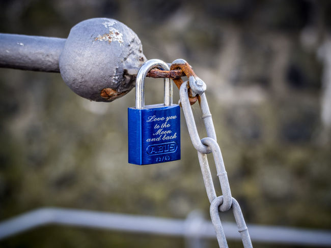 loveU2theMOONandBack Love Moon Blue Close-up Day Focus On Foreground Hanging Hope Lock Love Lock Love You To The Moon And Back Metal Nature No People Outdoors Padlock Water