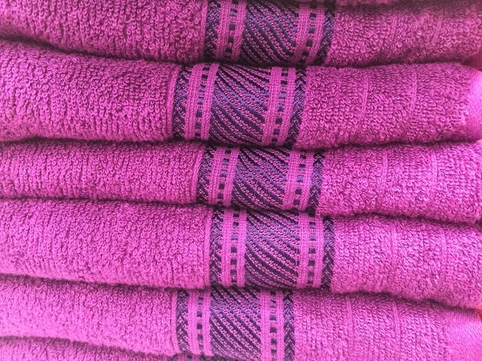 Stack of purple towel