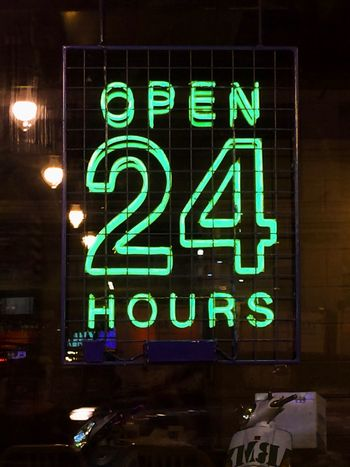 24 Hours Illuminated Night Neon Communication No People Signboard Signage EyeEmNewHere Building Exterior Time Time Passes By Text