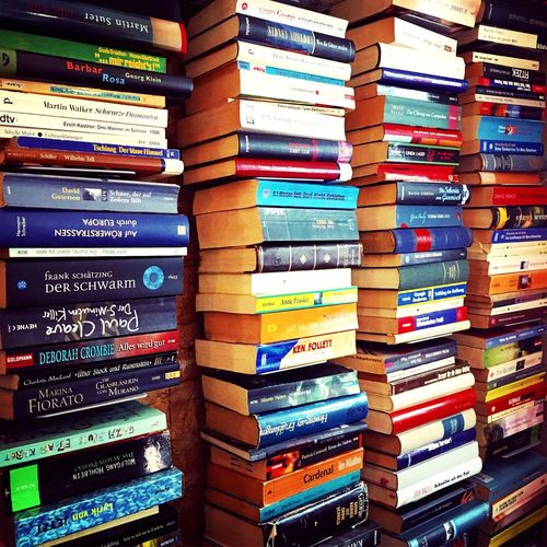 Let's read. Book decoration in a friendly cafe in Berlin. Books Book Collections Bookshelf Reading Interior Design Interiordesign Pattern Pieces Pattern, Texture, Shape And Form