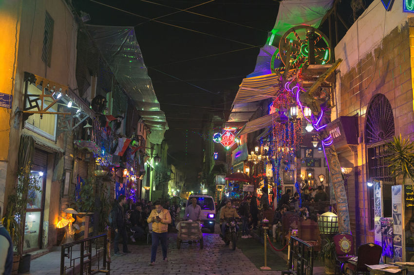 Colorful Colorful Night Egypt Egyptian Night Life Egyptians El Moez Street El Moez Street , Cairo El Moez Street,Cairo,Egypt Illuminated Night Night Life Real People