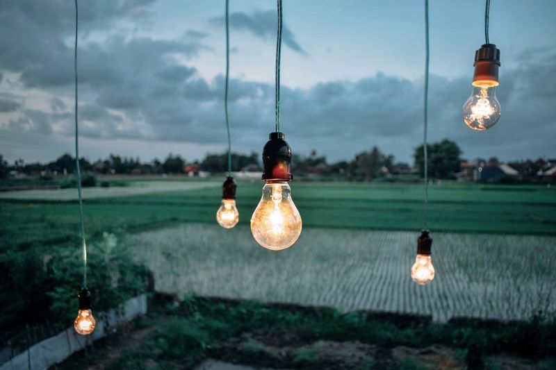 Close-up of illuminated light bulbs against field and sky