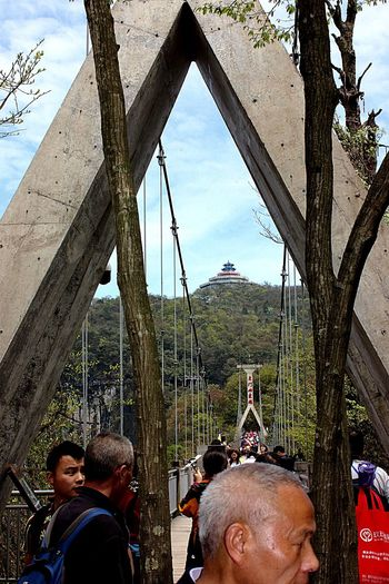 Tianmen Mountain Cable Bridge People Temple - Building Temple On Top Of Mountain Pavilion Pavilion On Top Of Mountain People Crossing Bridge Mountains Trees Hunan China Travel Advanture Outdoors Colour Of Life Fatherhood Moments People And Places