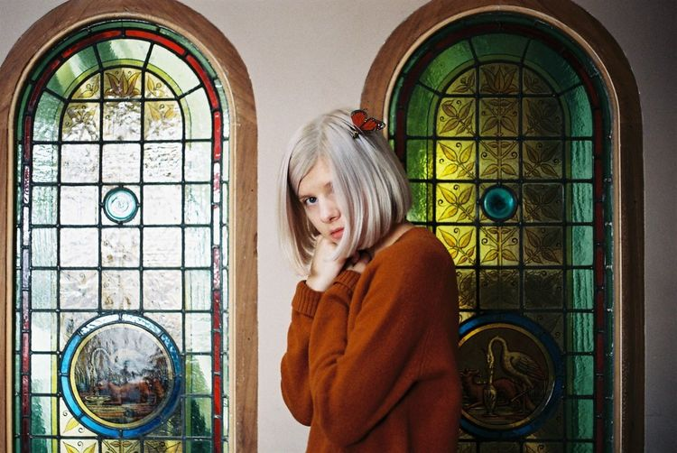 35mm 35mm Film Analogue Photography Aurora Butterfly Film Photography Filmisnotdead Magazine Shoot Portrait Singer  Stained Glass Stained Glass Window White Hair