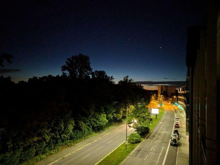 Car City Dusk Illuminated Night Outdoors Road Sign Street