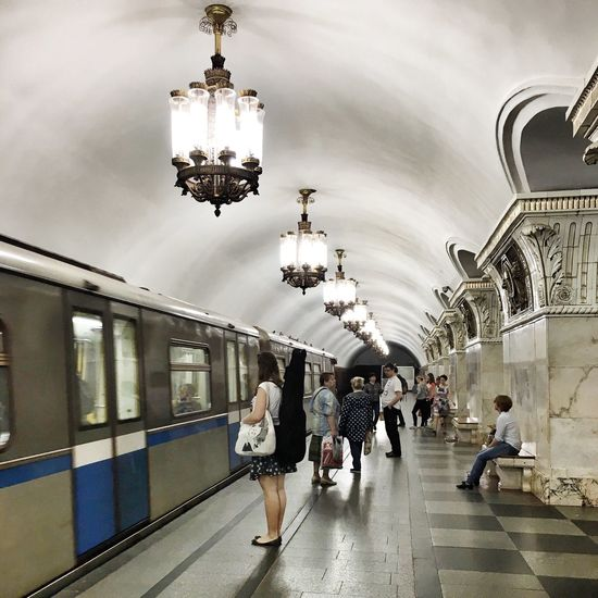 Moscow Subway Commuting Waiting For The Subway